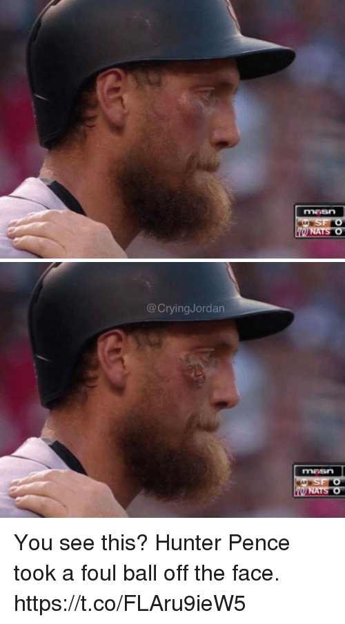 Hunter Pence, Hunter, and Face: maSN   CryingJordan  NATS O You see this? Hunter Pence took a foul ball off the face. https://t.co/FLAru9ieW5