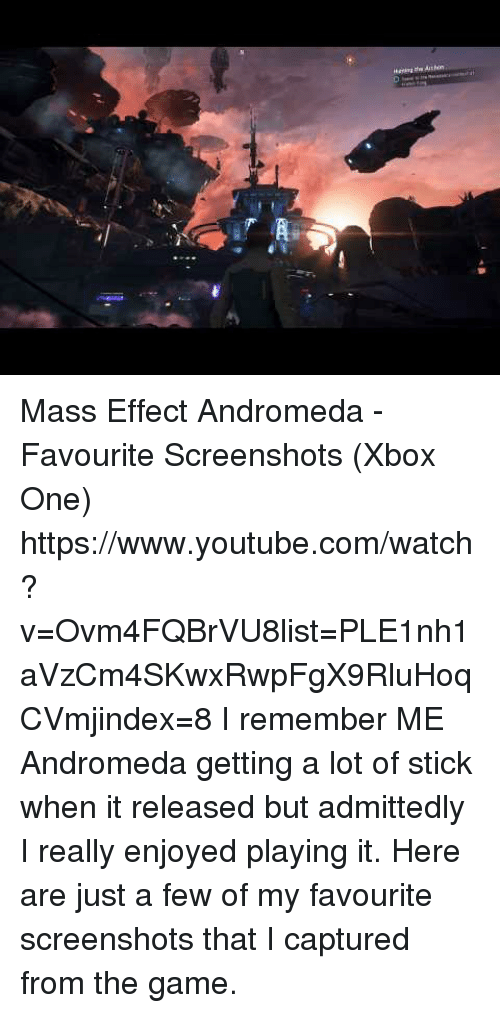 Target, The Game, and Xbox One: Mass Effect Andromeda - Favourite Screenshots (Xbox One) https://www.youtube.com/watch?v=Ovm4FQBrVU8list=PLE1nh1aVzCm4SKwxRwpFgX9RluHoqCVmjindex=8  I remember ME Andromeda getting a lot of stick when it released but admittedly I really enjoyed playing it. Here are just a few of my favourite screenshots that I captured from the game.