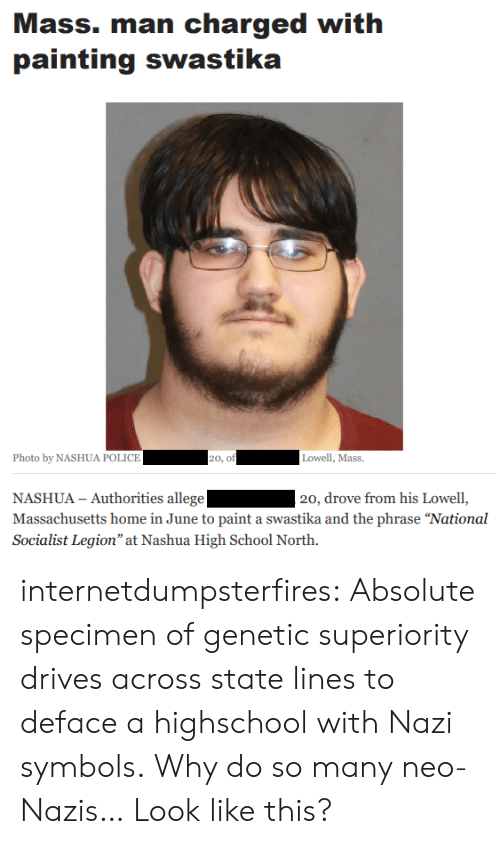 """Police, School, and Tumblr: Mass. man charged with  painting swastika  Photo by NASHUA POLICE  20, of  Lowell, Mass.  NASHUA - Authorities allege  Massachusetts home in June to paint a swastika and the phrase """"National  Socialist Legion"""" at Nashua High School North.  20, drove from his Lowell, internetdumpsterfires:  Absolute specimen of genetic superiority drives across state lines to deface a highschool with Nazi symbols.  Why do so many neo-Nazis… Look like this?"""