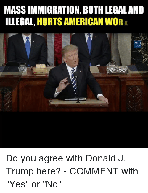 """Memes, 🤖, and Yes: MASSIMMIGRATION, BOTHLEGALAND  ILLEGAL HURTS AMERICAN WORK  WH  a  GOV Do you agree with Donald J. Trump here? - COMMENT with """"Yes"""" or """"No"""""""