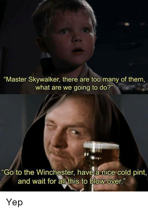 """Memes, Pint, and Cold: """"Master Skywalker, there are too many of them,  what are we going to do?""""  """"Go to the Winchester, have a nice cold pint,  and wait for all this to blow over Yep"""