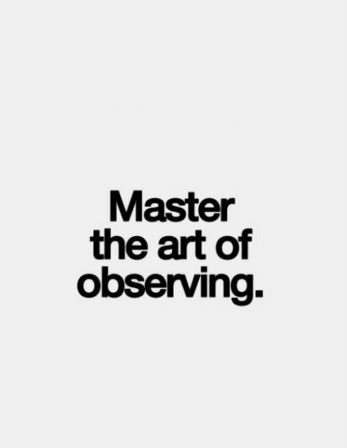 Art, Master, and The: Master  the art of  observing.