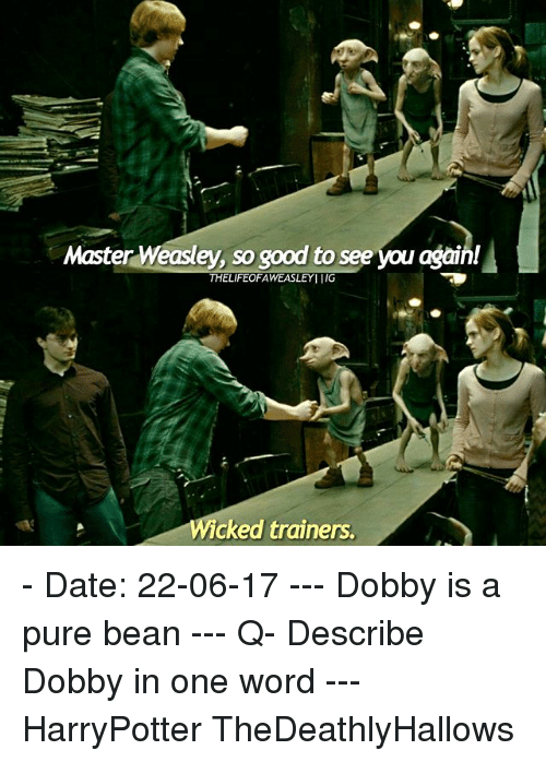 Memes, Date, and Good: Master Weasley, so good to see you again!  THELIFEOFAWEASLEYI IIG  Wicked trainers. - Date: 22-06-17 --- Dobby is a pure bean --- Q- Describe Dobby in one word --- HarryPotter TheDeathlyHallows