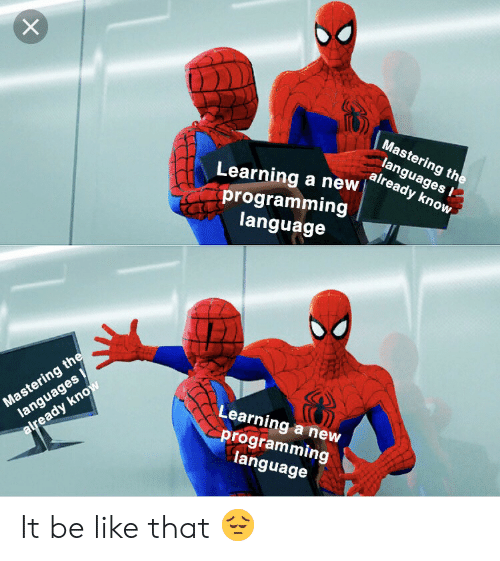 Be Like, Programming, and Language: Mastering the  languages  already know  Learning a new  programming  language  Mastering the  languages  Learning a new  programming  language  already know It be like that 😔