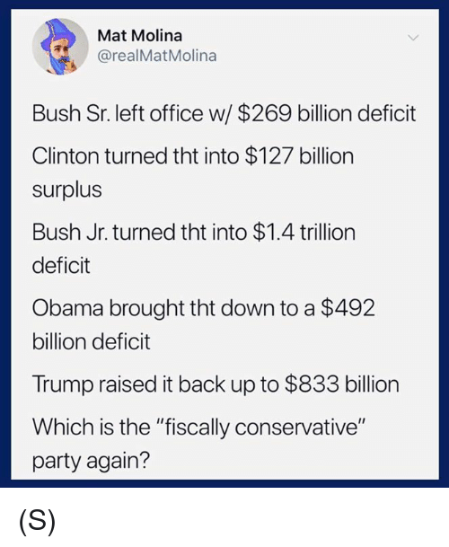 "Obama, Party, and Office: Mat Molina  @realMatMolina  Bush Sr. left office w/ $269 billion deficit  Clinton turned tht into $127 billion  surplus  Bush Jr. turned tht into $1.4 trillion  deficit  Obama brought tht down to a $492  billion deficit  Trump raised it back up to $833 billion  Which is the ""fiscally conservative""  party again? (S)"