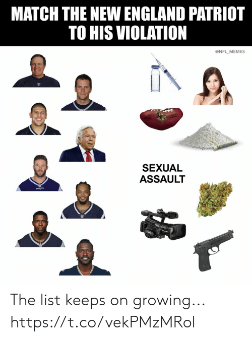 England, Football, and Memes: MATCH THE NEW ENGLAND PATRIOT  TO HIS VIOLATION  @NFL MEMES  SEXUAL  ASSAULT  PATRIOTS The list keeps on growing... https://t.co/vekPMzMRol