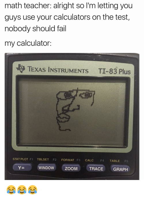 Fail, Funny, and Windows: math teacher: alright so l'm letting you  guys use your calculators on the test,  nobody should fail  my calculator:  TEXAS INSTRUMENTS TI 83 Plus  STAT PLOT F1  TBLSET  F2 FORMAT F3 CALC  F4  TABLE  Y- WINDOW ZOOM  TRACE GRAPH 😂😂😂