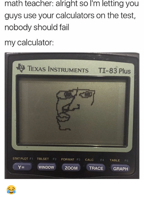 Fail, Memes, and Teacher: matn teacher: alright so l'm letting you  guys use your calculators on the test,  nobody should fail  my calculator:  TEXAS INSTRUMENTS  TI-83 Plus  STAT PLOT F1 TBLSET F2 FORMAT F3 CALC F4 TABLE FS  Y=  WINDOW  ZOOM  TRACE GRAPH 😂