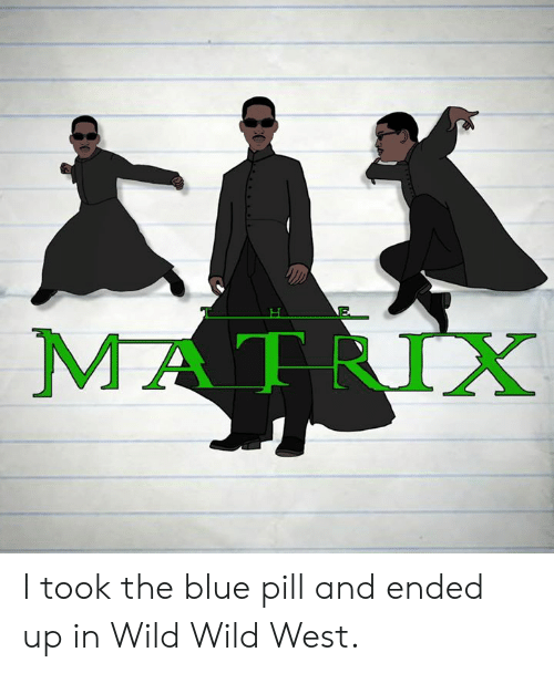 Dank, Blue, and Matrix: MATRIX I took the blue pill and ended up in Wild Wild West.