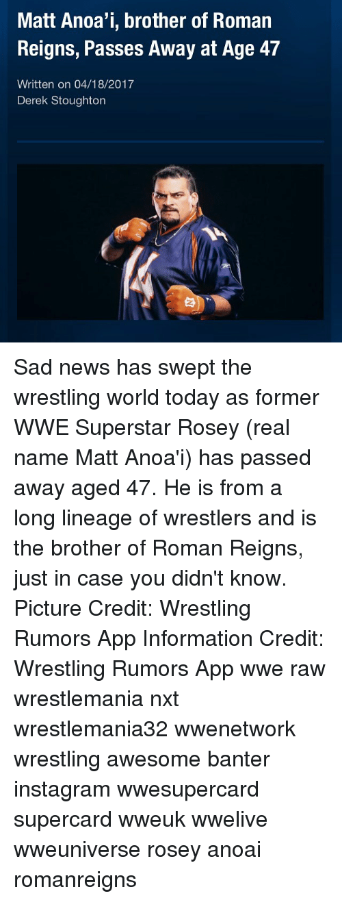 Matt Anoa'i Brother of Roman Reigns Passes Away at Age 47