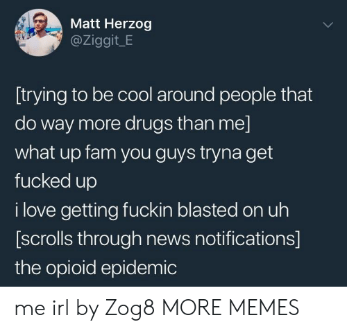 Dank, Drugs, and Fam: Matt Herzog  @Ziggit_E  [trying to be cool around people that  do way more drugs than me]  what up fam you guys tryna get  fucked up  i love getting fuckin blasted on uh  [scrolls through news notifications]  the opioid epidemic me irl by Zog8 MORE MEMES