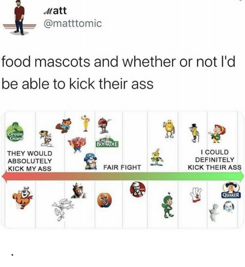 Definitely, Food, and Kfc: Matt  @matttomic  food mascots and whether or not l'd  be able to kick their ass  Green  Gian  BOYARDEE  I COULD  THEY WOULD  DEFINITELY  ABSOLUTELY  FAIR FIGHT  KICK THEIR ASS  KICK MY ASS  KFC  QUAKER .