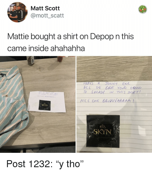2af1a8510 Memes, Nice, and 🤖: Matt Scott @mott_scatt Mattie bought a shirt on