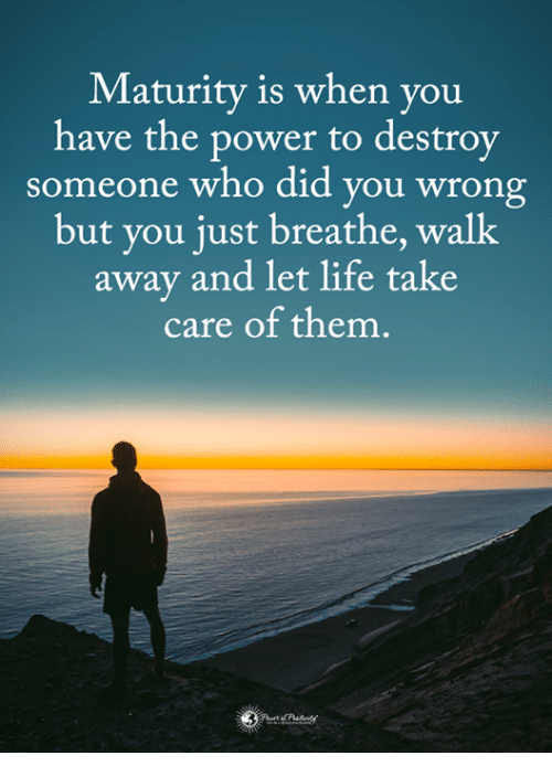 Life, Memes, and Power: Maturity is when you  have the power to destroy  someone who did you wrong  but you just breathe, walk  away and let life take  care of them