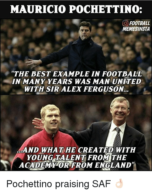 "England, Football, and Memes: MAURICIO POCHETTINO:  GO FOOTBALL  MEMESINSTA  ""THE BEST EXAMPLE IN FOOTBALL  IN MANY YEARS WAS MAN UNITED  WITH SIR ALEX FERGUSON.  YOUNG TALENT FROM THE  ACADEMY OR FROM ENGLAND Pochettino praising SAF 👌🏻"