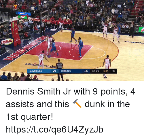 Dunk, Memes, and Wizards: MAVERICKS  21 WIZARDS  14 1st Qtr 5:24 09 Dennis Smith Jr with 9 points, 4 assists and this 🔨 dunk in the 1st quarter! https://t.co/qe6U4ZyzJb