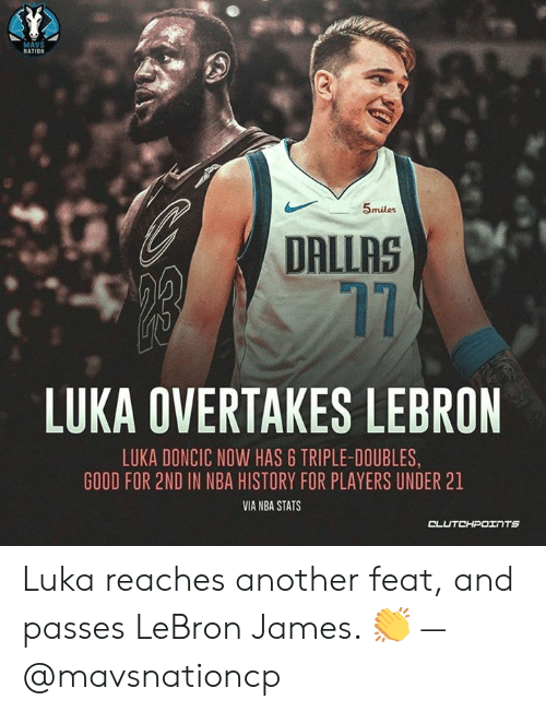 info for abed1 54dd1 MAVS NATION 5miles DALLAS 17 LUKA OVERTAKES LEBRON LUKA ...
