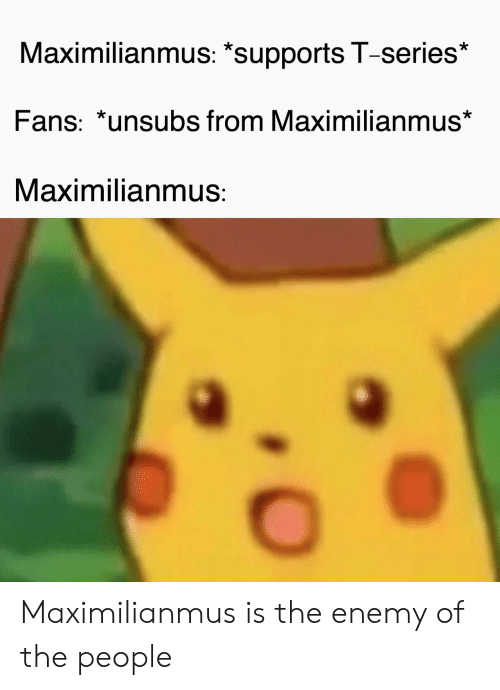 """The Enemy, Series, and T Series: Maximilianmus: """"supports T-series*  Fans: *unsubs from Maximilianmus*  Maximilianmus: Maximilianmus is the enemy of the people"""