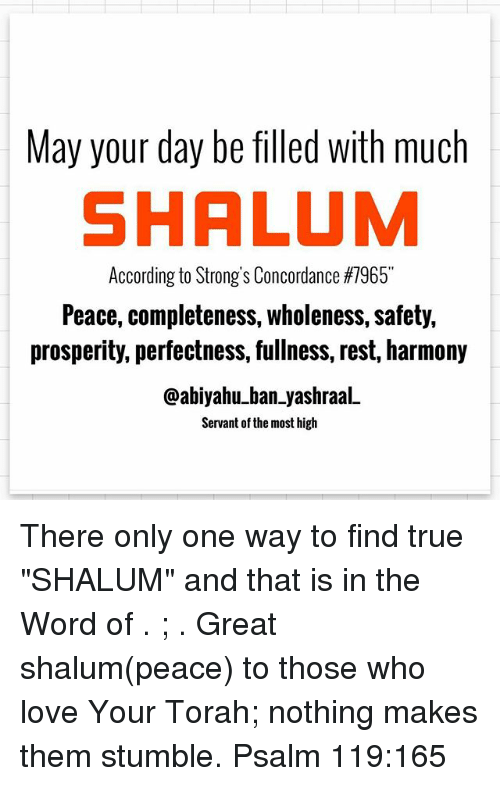 May Your Day Befilled With Much SHALUM According to Strong's