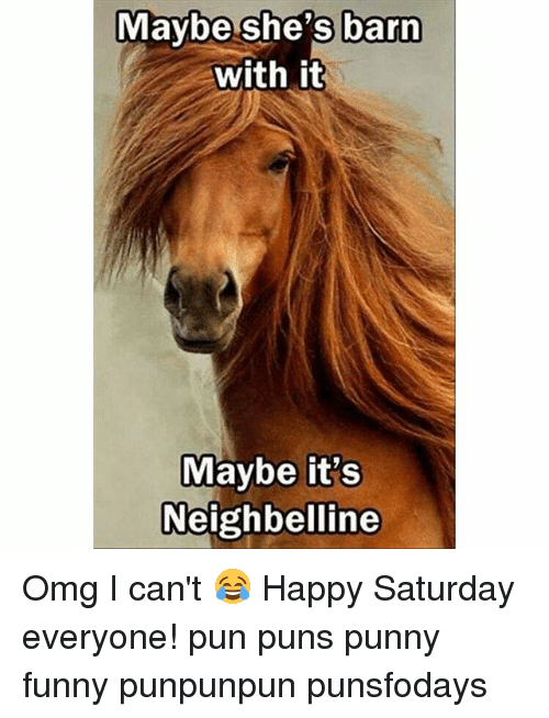 Funny, Memes, and Omg: Maybe she's barn  with it  Maybe it's  Neighbelline Omg I can't 😂 Happy Saturday everyone! pun puns punny funny punpunpun punsfodays