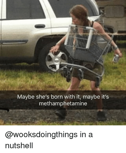 Dank Memes, Methamphetamine, and Born: Maybe she's born with it, maybe it's  methamphetamine @wooksdoingthings in a nutshell