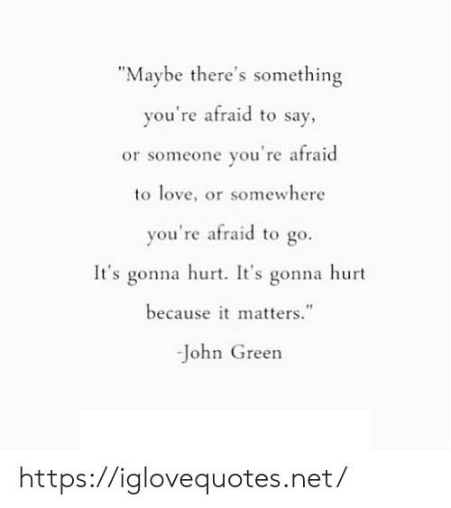 "Love, John Green, and Net: ""Maybe there's something  you're afraid to say,  or someone you're afraid  to love, or somewhere  you're afraid to go.  It's gonna hurt. It's gonna hurt  because it matters.""  -John Green https://iglovequotes.net/"