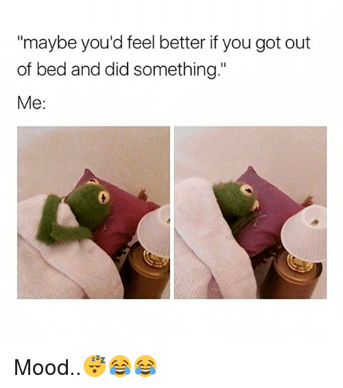 "Memes, Mood, and 🤖: ""maybe you'd feel better if you got out  of bed and did something.""  Me: Mood..😴😂😂"