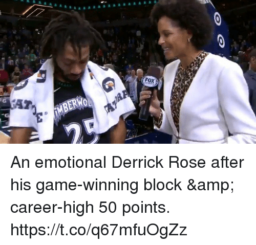 Derrick Rose, Memes, and Game: MBERWO An emotional Derrick Rose after his game-winning block & career-high 50 points. https://t.co/q67mfuOgZz