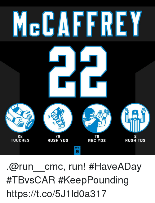 Memes, Run, and Rush: McCAFFREY  79  RUSH YDS  78  REC YDS  2  RUSH TDS  TOUCHES  WK  9 .@run__cmc, run! #HaveADay #TBvsCAR  #KeepPounding https://t.co/5J1ld0a317