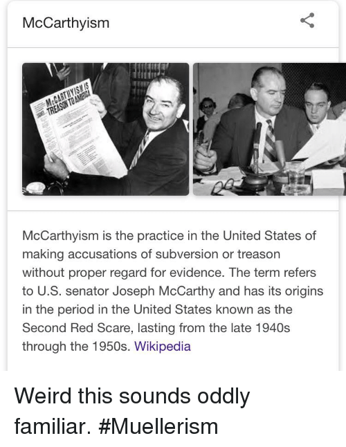 McCarthyism TREASON TO McCarthyism Is the Practice in the