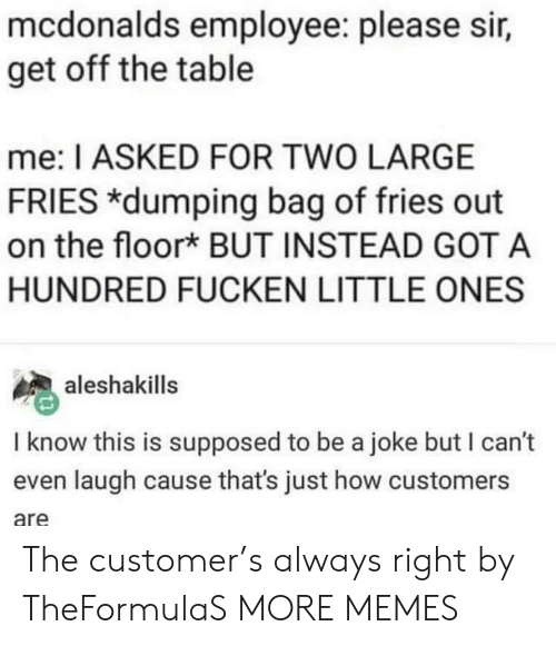 Dank, McDonalds, and Memes: mcdonalds employee: please sir,  get off the table  me: I ASKED FOR TWO LARGE  FRIES *dumping bag of fries out  on the floork BUT INSTEAD GOT A  HUNDRED FUCKEN LITTLE ONES  aleshakills  I know this is supposed to be a joke but I can't  even laugh cause that's just how customers  are The customer's always right by TheFormulaS MORE MEMES