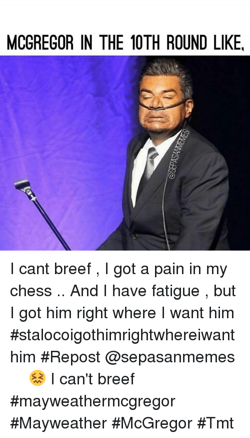 Mayweather, Memes, and Chess: MCGREGOR IN THE 10TH ROUND LIKE, I cant breef , I got a pain in my chess .. And I have fatigue , but I got him right where I want him #stalocoigothimrightwhereiwanthim #Repost @sepasanmemes ・・・ 😖 I can't breef #mayweathermcgregor  #Mayweather #McGregor #Tmt