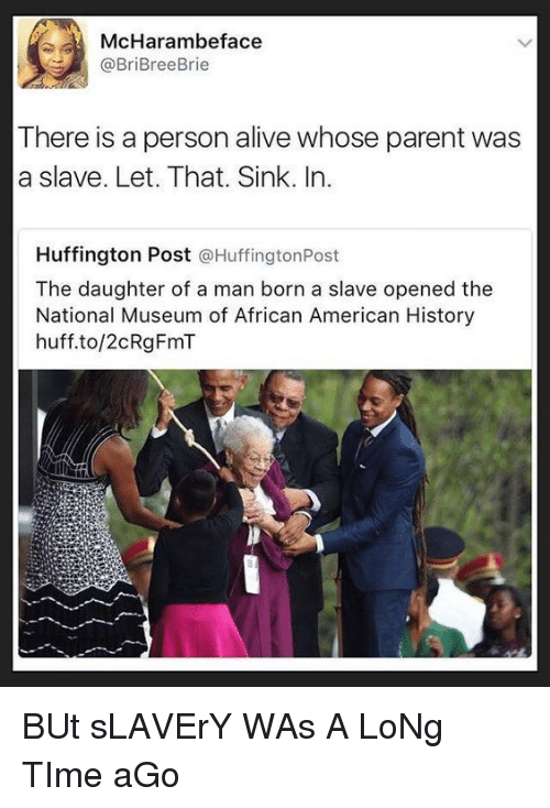 Alive, American, and History: McHarambeface  @BriBreeBrie  There is a person alive whose parent was  a slave. Let. That. Sink. In.  Huffington Post @HuffingtonPost  The daughter of a man born a slave opened the  National Museum of African American History  huff.to/2cRgFmT BUt sLAVErY WAs A LoNg TIme aGo