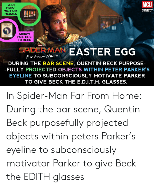 Easter, Spider, and SpiderMan: MCU  'WAR  HERO'  DIRECT  MILITARY  MEDALS  ARROW  POINTING  TО ВЕСK  MARVEL STUDIOS  EASTER EGG  SPIDER-MAN  Far From HemE  DURING THE BAR SCENE, QUENTIN BECK PURPOSE-  -FULLY PROJECTED OBJECTS WITHIN PETER PARKER'S  EYELINE TO SUBCONSCIOUSLY MOTIVATE PARKER  TO GIVE BECK THE E.D.I.T.H. GLASSES. In Spider-Man Far From Home: During the bar scene, Quentin Beck purposefully projected objects within peters Parker's eyeline to subconsciously motivator Parker to give Beck the EDITH glasses