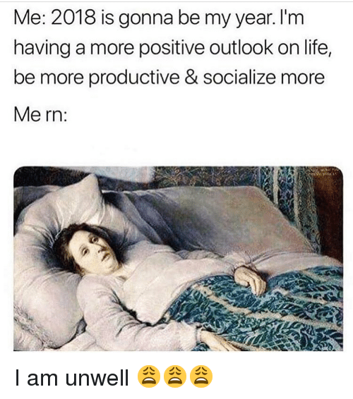 Life, Memes, and Outlook: Me: 2018 is gonna be my year. l'm  having a more positive outlook on life,  be more productive & socialize more  Me rn: I am unwell 😩😩😩