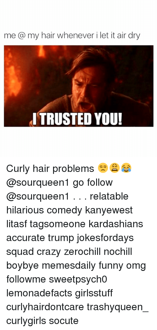 Memes, Relatable, and 🤖: me a my hair whenever i let it air dry  ITRUSTED YOU! Curly hair problems 😒😩😂 @sourqueen1 go follow @sourqueen1 . . . relatable hilarious comedy kanyewest litasf tagsomeone kardashians accurate trump jokesfordays squad crazy zerochill nochill boybye memesdaily funny omg followme sweetpsych0 lemonadefacts girlsstuff curlyhairdontcare trashyqueen_ curlygirls socute