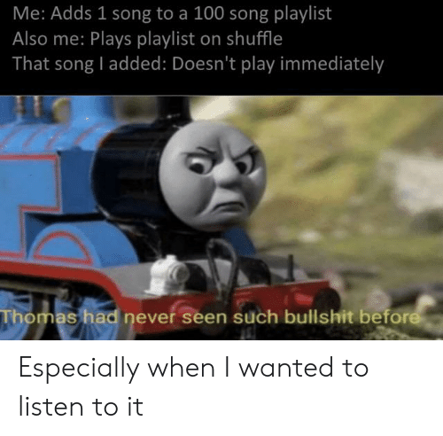 Me Adds 1 Song to a 100 Song Playlist Also Me Plays Playlist