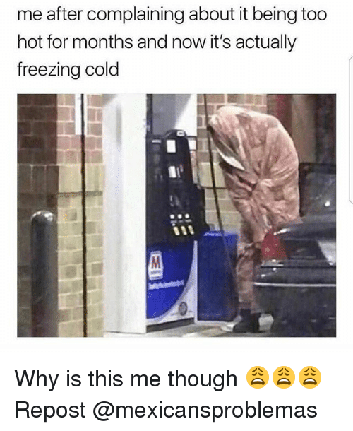 Memes, Cold, and 🤖: me after complaining about it being too  hot for months and now it's actually  freezing cold Why is this me though 😩😩😩 Repost @mexicansproblemas