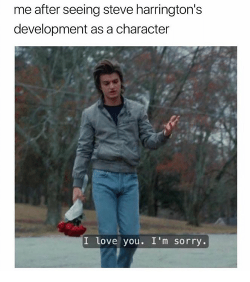 Love, Sorry, and I Love You: me after seeing steve harrington's  development as a character  I love you. I'm sorry.
