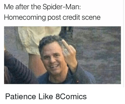 Memes, Spider, and SpiderMan: Me after the Spider-Man:  Homecoming post credit scene Patience Like 8Comics