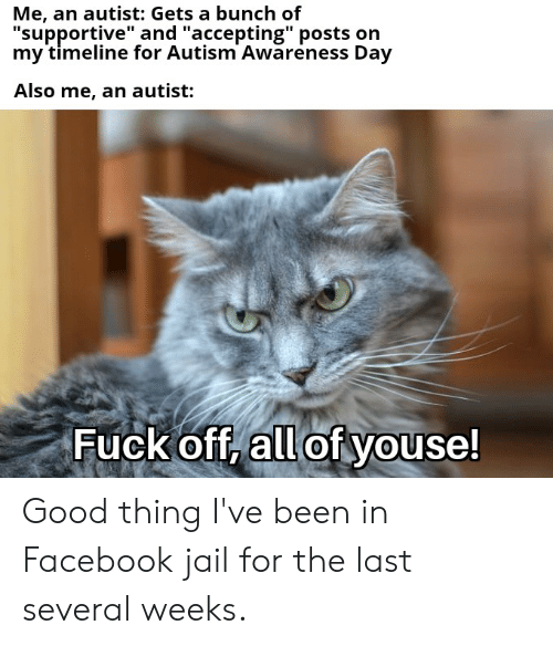 """Facebook, Jail, and Reddit: Me, an autist: Gets a bunch of  """"supportive"""" and """"accepting"""" posts on  my timeline for Autism Awareness Day  Also me, an autist:  Fuck off, all of youse! Good thing I've been in Facebook jail for the last several weeks."""
