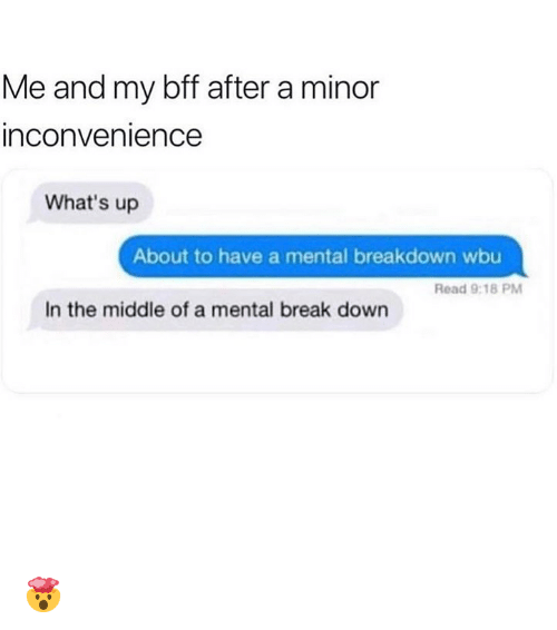 Memes, Break, and Inconvenience: Me and my bff after a minor  inconvenience  What's up  About to have a mental breakdown wbu  Read 9:18 PM  In the middle of a mental break down 🤯