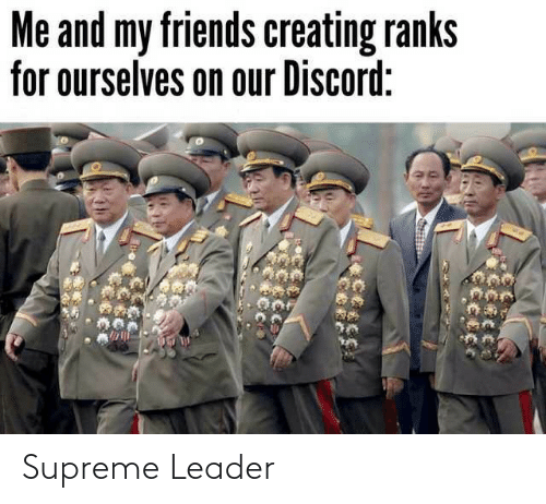 Friends, Supreme, and Discord: Me and my friends creating ranks  for ourselves on our Discord: Supreme Leader