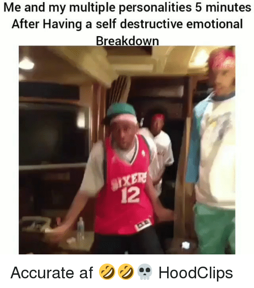 Af, Funny, and Afs: Me and my multiple personalities 5 minutes  After Having a self destructive emotional  Breakdown  12 Accurate af 🤣🤣💀 HoodClips