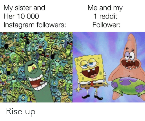Instagram, Reddit, and Her: Me and my  My sister and  Her 10 000  1 reddit  Instagram followers:  Follower: Rise up