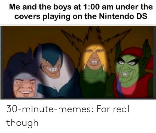 Memes, Nintendo, and Tumblr: Me and the boys at 1:00 am under the  covers playing on the Nintendo DS 30-minute-memes:  For real though