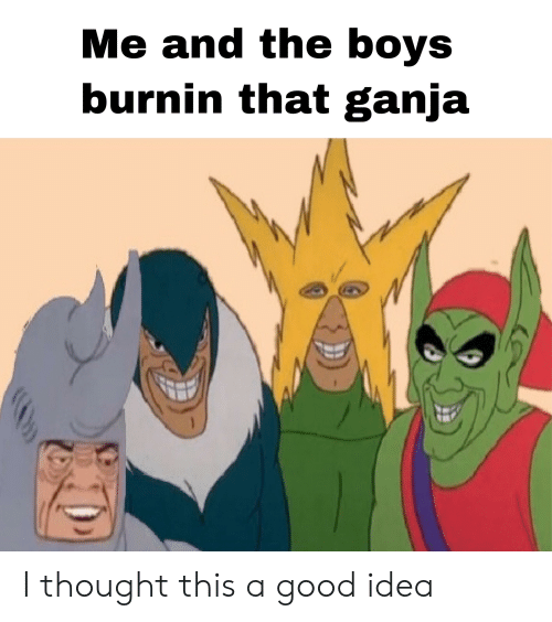 Good, Dank Memes, and Thought: Me and the boys  burnin that ganja  1 I thought this a good idea