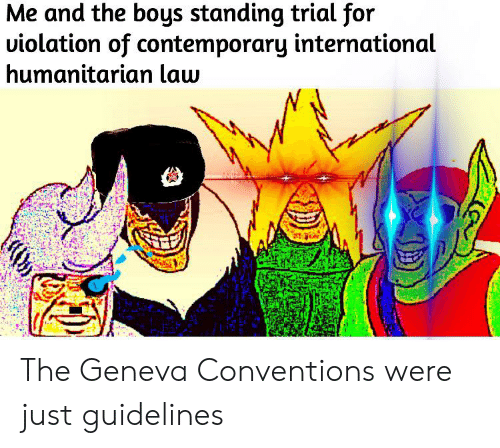 History, International, and Boys: Me and the boys standing trial for  uiolation of contemporary international  humanitarian law The Geneva Conventions were just guidelines