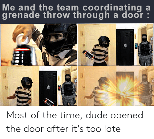 Dude, Time, and Team: Me and the team coordinațing a  grenade throw through a door :  Ph Most of the time, dude opened the door after it's too late