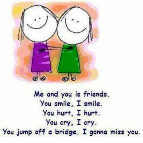 Me And You Is Friends U Smile I Smile You Hurt I Hurt You Cry I Cry